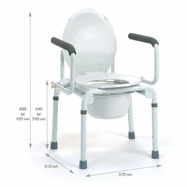 2-in-1-stoel Stacy wordt gebruikt als toiletstoel en toiletsteun.