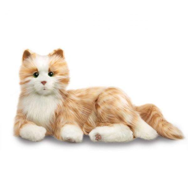 interactieve kat specifiek voor ouderen van merk Hasbro Joy for all in oranje rood