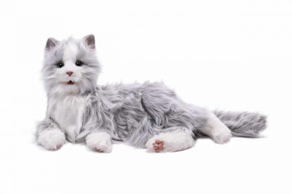 interactieve kat specifiek voor ouderen van merk Hasbro Joy for all in grijs