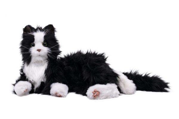 interactieve kat specifiek voor ouderen van merk Hasbro Joy for all in zwart wit