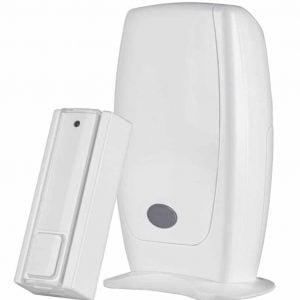 KlikAanKlikUit draadloze set bestaat uit een deurbel en een draagbare losse bel