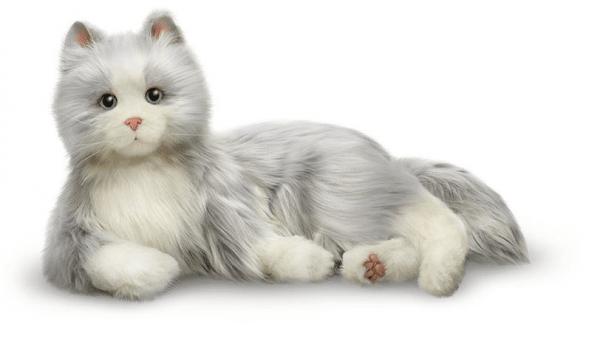 interactie kat specifiek voor ouderen van merk Hasbro Joy for all in grijs