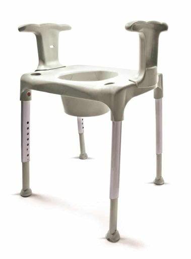 Toiletverhoger die u overzet over uw toilet ook als douchekruk te gebruiken