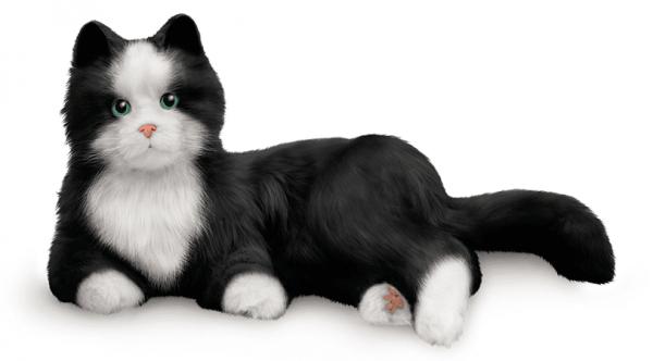 interactie kat specifiek voor ouderen van merk Hasbro Joy for all in zwart wit