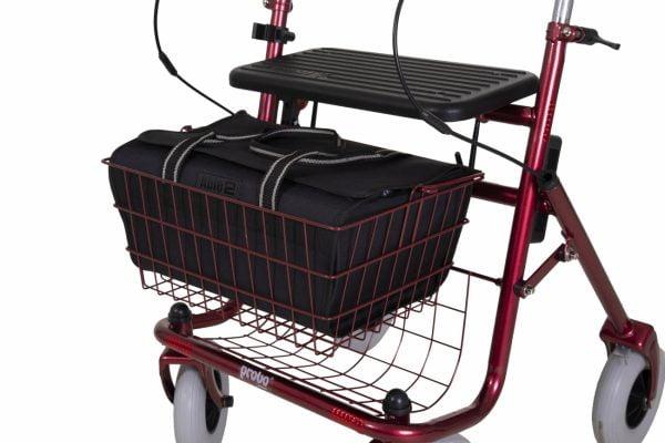 Praktische rollator tas voor in de mand van de rollator
