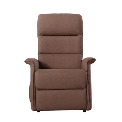 Sta-op stoel Torino waarvan de rugleuning en beensteun apart zijn te bedienen. Kleur bruin in rechte stand