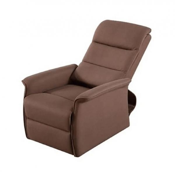 Sta-op stoel Torino waarvan de rugleuning en beensteun apart zijn te bedienen. Kleur bruin met rugleuning naar beneden