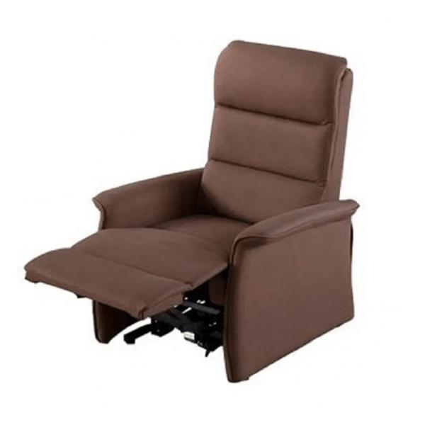 Sta-op stoel Torino waarvan de rugleuning en beensteun apart zijn te bedienen. Kleur bruin met beensteun omhoog