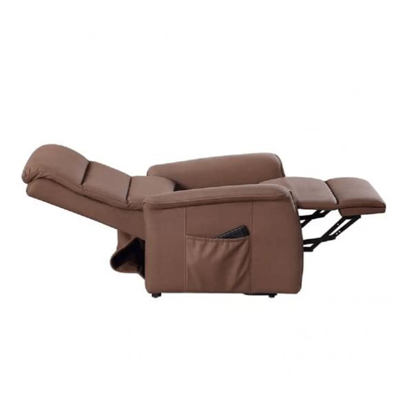 Sta-op stoel Torino waarvan de rugleuning en beensteun apart zijn te bedienen. Kleur bruin in ligstand