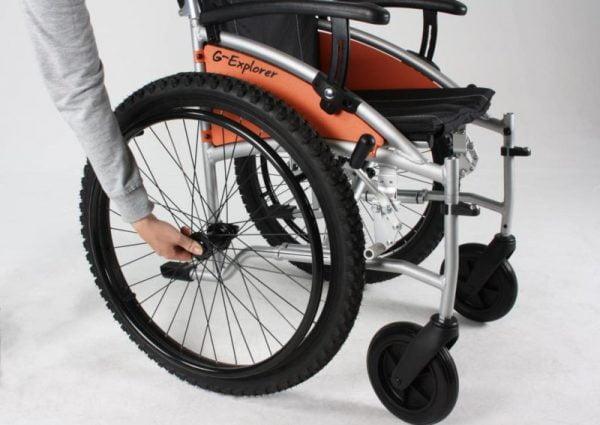 Rolstoel G-Explorer met luchtbanden voor ruw terrein met quick release wielen