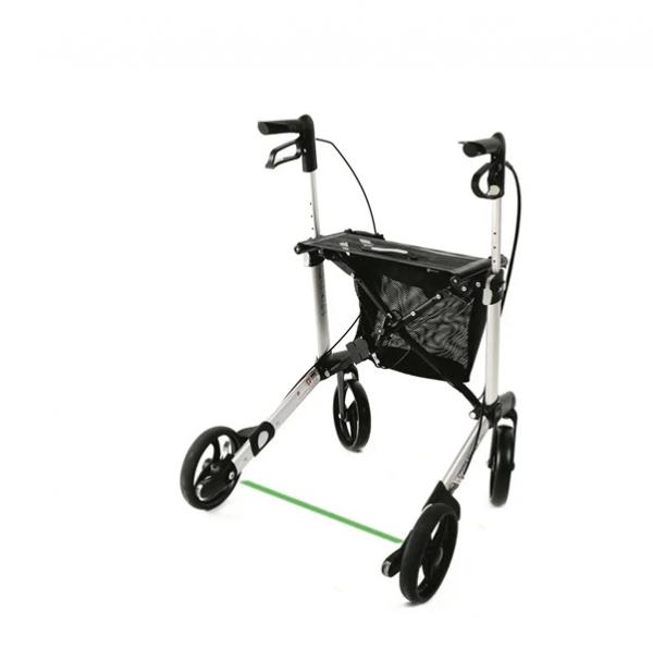 Gemino 30 rollator ontwikkeld voor mensen met Parkinson met vertraagd remsysteem en laserstraal zichtbaar