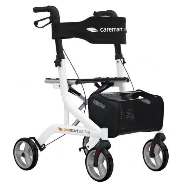 Rollator Excel Caremart EZ in drie kleuren. compleeet met rugsteun en boodschappentas, dit is de kleur Wit