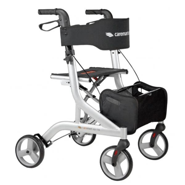 Rollator Excel Caremart EZ in drie kleuren. compleeet met rugsteun en boodschappentas, dit is de kleur zilver